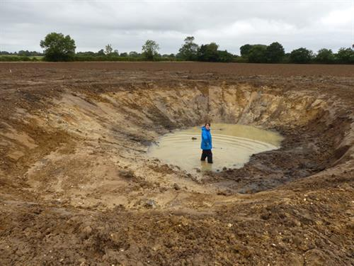 Ghost Pond site at Guestwick during excavations stage